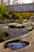 Covered Bridges Metal Prints - Bulls Bridge - Autumn scene Metal Print by Thomas Schoeller