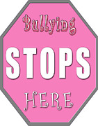 Anti-bullying Framed Prints - Bullying Stops Here Framed Print by Linda Diane Taylor