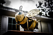 Bee Photographs Posters - Bumble Bee of Happiness Metal Statue Poster by Robin Lewis