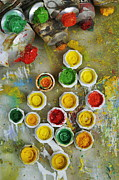 Variation Art - Bunch of opened paint tubes on palette by Sami Sarkis