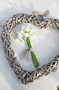 Winter Wedding Flowers Photos - Bunch Of Snowdrops (galanthus Nivalis) In Heart Wreath by Juliette Wade