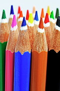 Colored Pencil Photos - Bunch of standing colorful crayons by Sami Sarkis