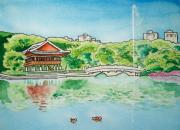 Korea Paintings - Bundang Central Park in Spring I by Nicholas Stecher