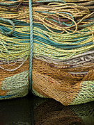 Netting Metal Prints - Bundle of Fishing Nets and Ropes Metal Print by Carol Leigh