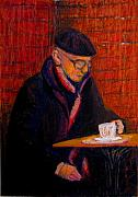 Thinking Pastels Framed Prints - Bundled Old Man With Coffee Framed Print by Art Nomad Sandra  Hansen
