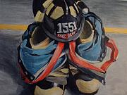 Fire Gear Paintings - Bunker Gear by Joseph Fuchs
