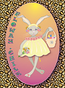 Youthful Digital Art Posters - Bunnie Girls- Flowah Chile 1 Of 4  Poster by Brenda Dulan Moore