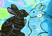 Print Ceramics Framed Prints - Bunnies In Love Framed Print by Patricia Lazar