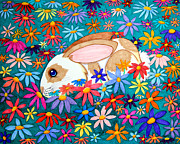 Colorful Animals Drawings Framed Prints - Bunny and flowers Framed Print by Nick Gustafson