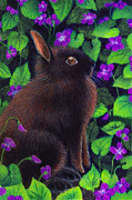 Bunny Paintings - Bunny and Violets by Valerie  Evanson