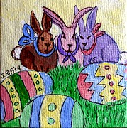 Easter Eggs Paintings - Bunny Business by Julie Brugh Riffey