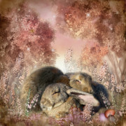 Animal Mixed Media Metal Prints - Bunny Dreams Metal Print by Carol Cavalaris