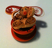 Quilling Prints - Bunny in a Tea Cup Print by Julie Hens