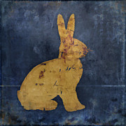 Rustic Metal Prints - Bunny in Blue Metal Print by Carol Leigh