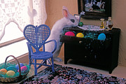 Miniature Art - Bunny in small room by Garry Gay