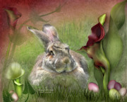 Colored Eggs Art Greeting Card Framed Prints - Bunny In The Lilies Framed Print by Carol Cavalaris