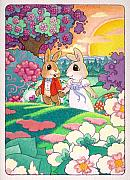 Sunsets Drawings Posters - Bunny Love Poster by Terry Anderson