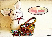 Children Digital Art Art - Bunny N Eggs Card by Methune Hively
