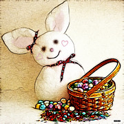 Children Digital Art Art - Bunny N Eggs Wall Art by Methune Hively