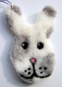 Holiday Tapestries - Textiles - Bunny Ornament by Kimberly Simon
