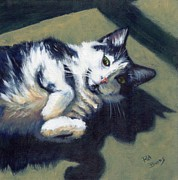 Black And White Cats Paintings - Bunny Pose by Pat Burns