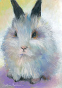 Wildlife Prints Drawings Framed Prints - Bunny Rabbit painting Framed Print by Svetlana Novikova