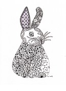 Easter Drawings Posters - Bunny Too Poster by Paula Dickerhoff