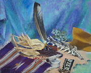 Pouch Painting Posters - Bunnys Eagle Feather Poster by Roger Clark