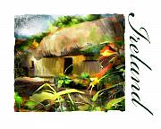 Roof Mixed Media Prints - Bunratty Village Ireland Print by Bob Salo