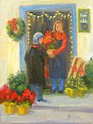 Poinsettias Paintings - Buon Natale by Bunny Oliver