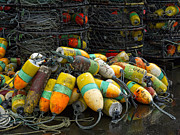 Netting Metal Prints - Buoys and Crabpots on the Oregon Coast Metal Print by Carol Leigh