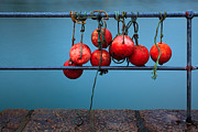 Fishing Trawler Framed Prints - Buoys on railings Framed Print by Richard Thomas