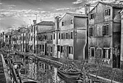 Black And White Prints Pyrography Prints - Burano 3 Print by Mauro Celotti