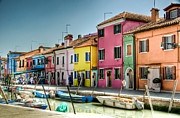 Bright Colored Prints - Burano Canal Print by Jon Berghoff