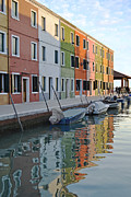 Colorful Houses Prints - Burano Canal Print by Rebecca Margraf