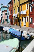 Burano Prints - Burano Corner With Laundry Print by Donna Corless