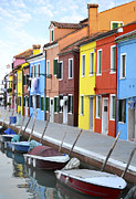 Colorful Houses Prints - Burano Italy 2 Print by Rebecca Margraf