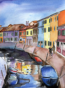 Canals Framed Prints - Burano near Venice Framed Print by Lydia Irving