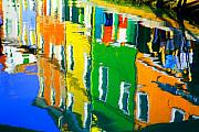 Reflection Pastels Framed Prints - Burano Reflections Framed Print by Donna Corless