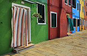 Venice Photos - Burano Street by Inge Johnsson