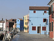 Colored Facades Posters - Burano.VENICE Poster by Bernard Jaubert
