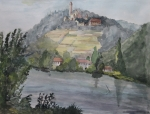 Germany Painting Originals - Burg Hornberg  Castle of Goetz von Berlichingen by Antje Wieser