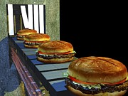 Conveyor Belt Framed Prints - Burger Factory, Artwork Framed Print by Christian Darkin