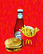 Kitschy Metal Prints - Burger Fries And Ketchup Metal Print by Wingsdomain Art and Photography