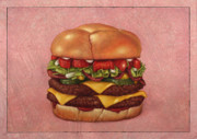 Food  Drawings Prints - Burger Print by James W Johnson