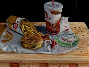 French Fries Painting Posters - Burger King Value Meal No. 1 Poster by Thomas Weeks