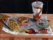 Hamburger Painting Metal Prints - Burger King Value Meal no. 2 Metal Print by Thomas Weeks