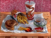 Hamburger Painting Metal Prints - Burger King Value Meal no. 3 Metal Print by Thomas Weeks