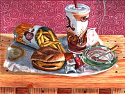French Fries Painting Posters - Burger King Value Meal No. 4 Poster by Thomas Weeks
