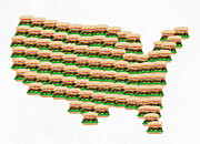 Usa Map Prints - Burger Town USA Map White Print by Andee Photography